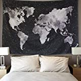 LOMOHOO Tapiz Mapa del Mundo para Pared Decoración Retro Tapiz de Tela de poliéster para Colgar Pared para...