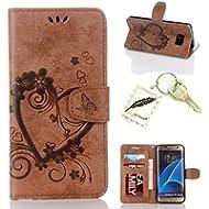 Silikonsoftshell PU Hülle für Galaxy S7 Edge (5,5 Zoll) Tasche Schutz Hülle Case Cover Etui Strass Schutz schutzhülle Bumper Schale Silicone case(+Exquisite key chain X1)#AO