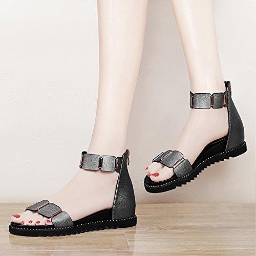 XY&GKFrau Sommer Student Sommer Sandalen All-Match einfache Art und Weise mit großen Größe Sandalen im Sommer, komfortabel und schön 37 gun color