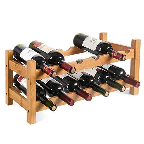 #HOMFA Bambus Weinregal Flaschenregal für 12 Flaschen Weinhalter Weinständer Flaschenständer Weinflaschenhalter 60x24x25CM#