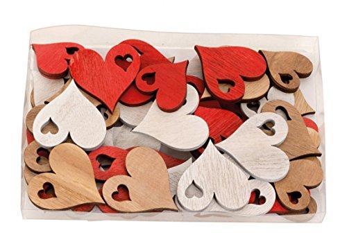Streudeko Holzherzen Herzen In Box 48 Stk Je 3,5-4,5 cm, Holz Rot Weiß Natur, Kleine Holzscheiben Herzform, Streuherzen