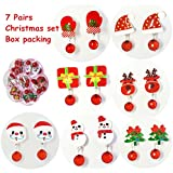 7 Pairs Clip On Earrings, Clip-on Christmas Set No Holes Earrings Girls Party Favor Birthday Gift Pretend Play Princess Christmas Clip-on Earrings Value Jewelry Set