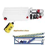 Ambesten Hydraulikpumpe 10L Einfachwirkend Hydraulikaggregat 12V DC Kunststofftank Hydraulikpumpeneinheit mit Remoter für Dump Trailer (10L Kunststoff Einfachwirkend)
