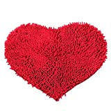 Gute, weiche, rutschfeste Türmatte, Chickwin Liebe Herz-Form Tür Badezimmer Teppiche Badematte Microfaser Absorptions-Teppich 1 Stück (Rot)