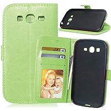 FUBAODA Premium en Dorado PU Cuero Funda Folio Carcasa + Cable Libre, Piel Case Cover con Soporte para Samsung Galaxy Grand Neo Plus i9060 (verde)