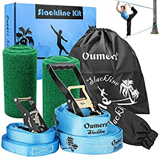 Oumers Beginner Slackline Kit, Slack Line Gift Set with 50ft Main Blance line Training Line Tree Protector Ratchet Cover Carry Bag for Kids Adults