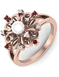 Perrian 18KT Diamond, Ruby And Pearl Ring For Women