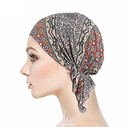 Locisne Bufanda de cabeza pre-impresa estampada para mujer Sombrero de