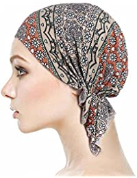 Locisne Bufanda de cabeza pre-impresa estampada para mujer Sombrero de cabeza de turbante Chemo Beanie Headwear para cáncer, quimioterapia, pérdida de cabello