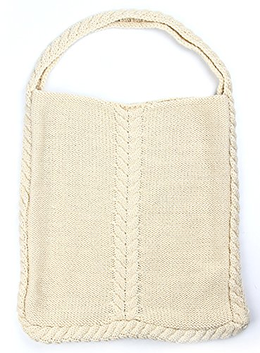 Aran Traditions Cream White Cable Knit Tote Bag - Cream Cable Knit