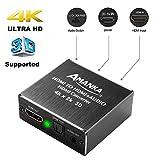 AMANKA Convertisseur HDMI Audio Extracteur |4K x 2K HDMI vers HDMI + Optique SPDIF avec 3.5 mm Stéréo 5.1CH 2.1CH pour PS3 Xbox HD DVD PS4 Sky HD Plasma Blu-Ray Home Cinéma, Soutien 3D 4K