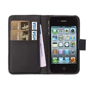Fonerize Leder-Portemonnaie, Echtleder, für Apple iPhone 4/4S, mit Kartenfächern, Schwarz