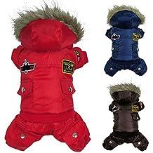 WIDEN Ropa para perros Capa del perro Chaqueta de invierno para mascotas ropa impermeable capucha calientes del perrito colores azules de café
