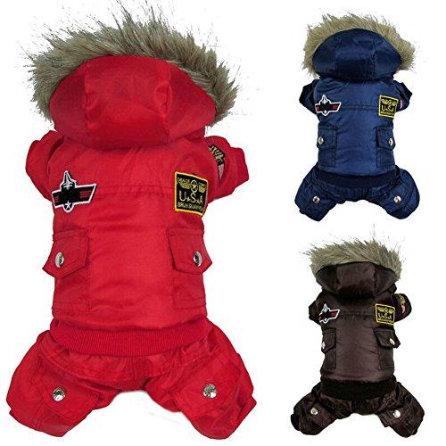 Wintermantel für Hunde, Jacke, USA-Air-Force-Motiv, Kapuzenjacke für Haustiere, Kleidung für kleine Welpen, Medium, Overall mit Kapuze, Schneeanzug, Pullover, Hundebekleidung, rotes, winddichtes Mantel (Air-force-overalls)