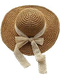 3d793a58732 Urban CoCo Women s Wide Brim Caps Foldable Summer Beach Sun Straw Hats ( 2  Khaki
