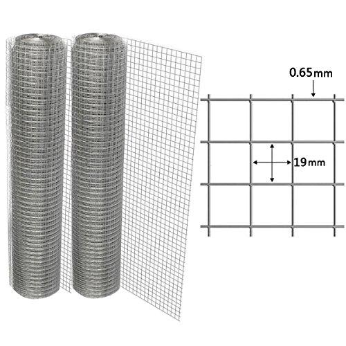 RMAN - 2 Pack Volierendraht 1m x 25m Drahtgitter Maschendraht 4-Eck Verzinkt Schweißgitter 19x19mm (Metall-hasen Käfig)