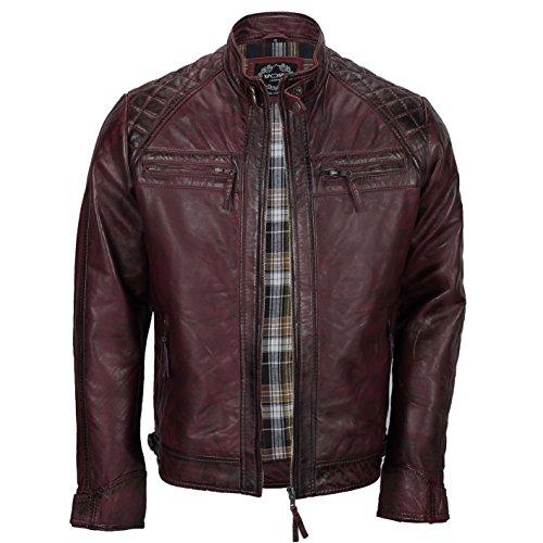 Xposed, giacca da uomo con cerniera, in vera pelle morbida, nera, vintage, alla moda, casual, stile motociclista burgundy x-large