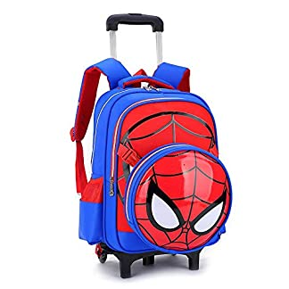 Spiderman Printed Elementary Trolley Mochila Escolar Rolling Bag Primary Wheeled Book Bag para NiñOs Y NiñAs Mochila Trolley para NiñOs De 5 A 12 AñOs