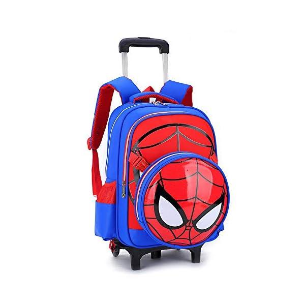 Spiderman Printed Elementary Trolley Mochila Escolar Rolling Bag Primary Wheeled Book Bag para NiñOs Y NiñAs Mochila Trolley para NiñOs De 5 A 12 AñOs Blue-2 Wheels