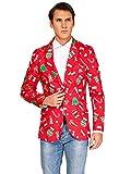 OFFSTREAM Weihnachtsjacke für Herren in Verschiedenen Drucken, Red Icons Jacket Only, XXL