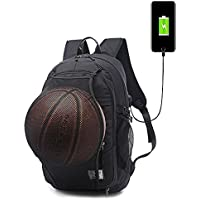 Basketball Backpack,15.6 Inch Laptop Charging backpack with Basketball Net USB Charging Port
