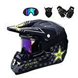 MRDEER Motocross Helm Set mit Handschuhe Maske Brille, Unisex Adult Off Road Helm Kit Motorradhelm...