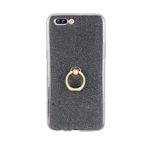 EKINHUI Case Cover Soft Flexible TPU Back Cover Case Shockproof Schutzhülle mit Bling Glitter Sparkles und Kickstand für OPPO R11 Plus ( Color : Blue ) Black