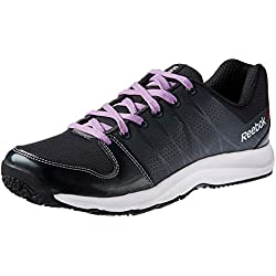 Reebok Women's Cool Traction Grey, Smoky Violet, White and Black Running Shoes - 4 UK