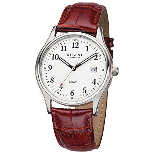 Regent Reloj de pulsera hombre Relojes con cinta de piel de colección de hombre reloj con piel de pulsera Marrón Analógica cuarzo d1urf955