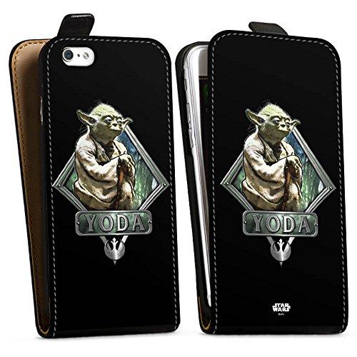 Apple iPhone 6 Hülle Case Handyhülle Star Wars Merchandise Fanartikel Yoda Downflip Tasche schwarz