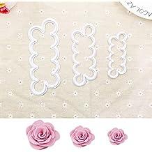 JZK Kit di 3 stampi tagliapasta rose per creare roselline fiori di pasta di zucchero torta cupcake compleanno matrimonio strumento decorazioni stampo formine