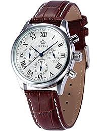 ORKINA ORK150 - Reloj analógico de cuarzo para hombre con correa de cuero, color marrón (cronómetro)