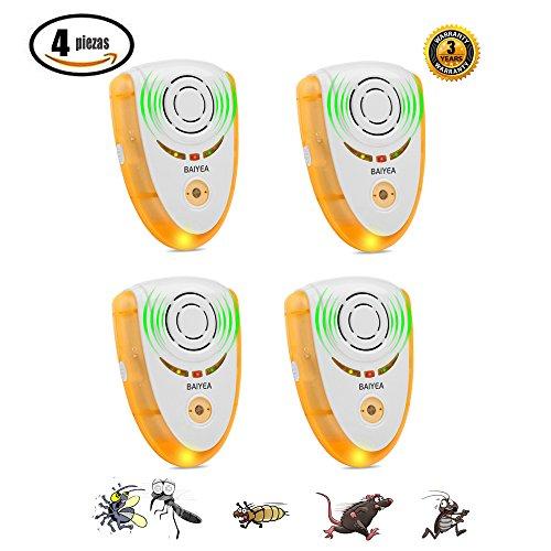 Repelente de Plagas Ultrasónico y Electromagnético para Expulsar Insectos y Roedores deInterior | Ahuyentador Ecológico | Pest Reject (4 Piezas)