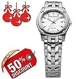 Burberry BU1853 Unisex-Armbanduhr für Herren und Damen, luxuriös, rund, Edelstahl, weißes Datumsanzeige, 32 mm