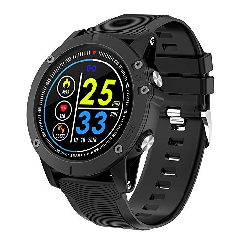 Bluetooth Smart Uhren 1,3 Zoll Full Round HD Farbdisplay IP68 wasserdicht Fitness Tracker mit GPS Sport Tracking Nachricht Erinnerung Herzfrequenz Schlaf Tracker für Männer Frauen iOS Android
