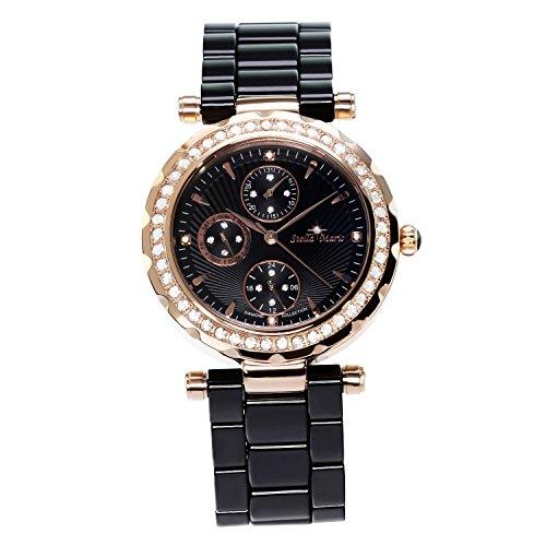 Stella Maris STM15R6 -Women's Watch - Black Watch Dial - Analog Quartz - Black Ceramic Bracelet - Diamonds - Swarovski Elements - Stylish - Classy