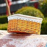 Cesto rettangolare in rattan naturale baule giocattolo cestini di vimini, Pure con supporto di tessuto a mano contenitore, robusto lavabile per cameretta dei bambini telo bagno ideale Season