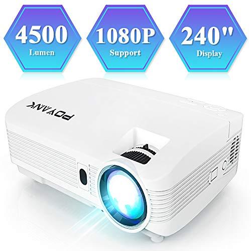 POYANK Full HD V6 Beamer, Video Projektor 4500 Lumen mit 1080P und 240 Zoll Projektionsgröße Unterstützung, Heimkino Beamer unterstützt TV Stick PC Spiel Konsole Smartphone HDMI VGA USB SD, Weiß.