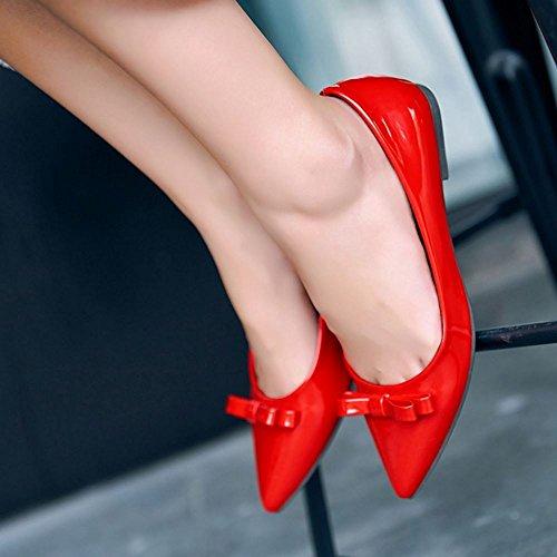 Zanpa Femmes Comfort Ballerines Pompes Chaussures Plates Avec Bow Rouge