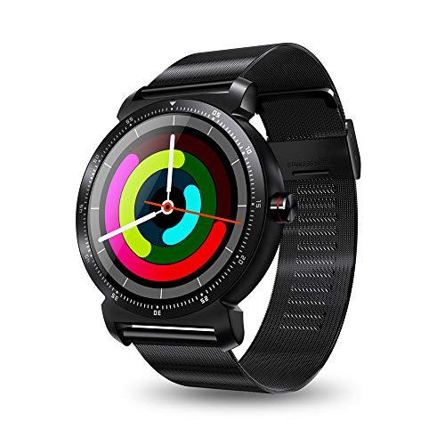 K88H Plus Stainless Strap Narrow Bezel Full Screen Heart Rate Pedometer Message Multisport Remote Camera Smart Watch Men,Black Narrow Bezel