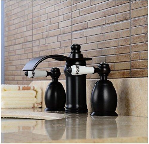 Gowe 3Löcher Badezimmer Öl eingerieben Bronze Waschbecken Wasserhahn Schiff Spülbecken Wasserhahn Deck Mount Mixer (Schiff Eingerieben öl Wasserhahn Bronze)