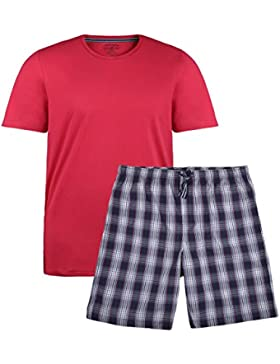 Jockey Pijama Corta de Cuadros Rojos-Azules Oversize