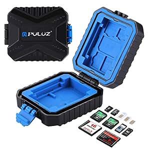 SIM SD CF TF XQD Card Case, PULUZ 11 Slots Mini Portable Wateroroof Resistant Memory Cards Holder Stocker Carrying Shell Storage Box Cover Protector, Capacity: 3*SIM + 2*XQD + 2*CF + 2*TF + 2*SD Card