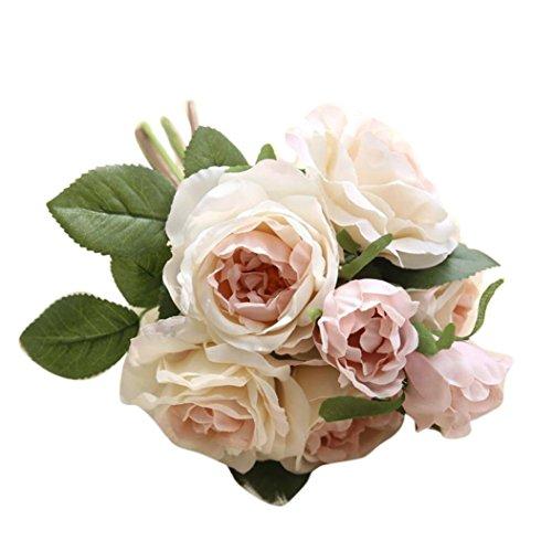 Wohnaccessoires & Deko Kunstblumen Künstliche Rose Silk Blumen 1 Stück Blüte Blatt DIY Rosa Blume Künstliche Blumen Sträuße Garten Dekoration für Hochzeit Party Küche Home Decor (Rosa)