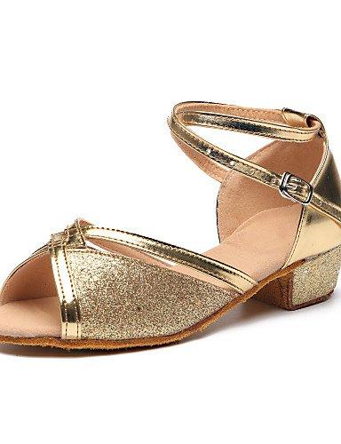 La mode moderne pour enfants Sandales Chaussures de danse latine Paillette/talons Talon plat pratique/IndoorRed US12/EU30/UK11 Little Kids