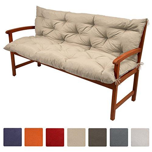 Beautissu Flair BR - Colchón, respaldo, cojín de bancos de jardín, terraza o balcón - 120x50x50 cm - Beige