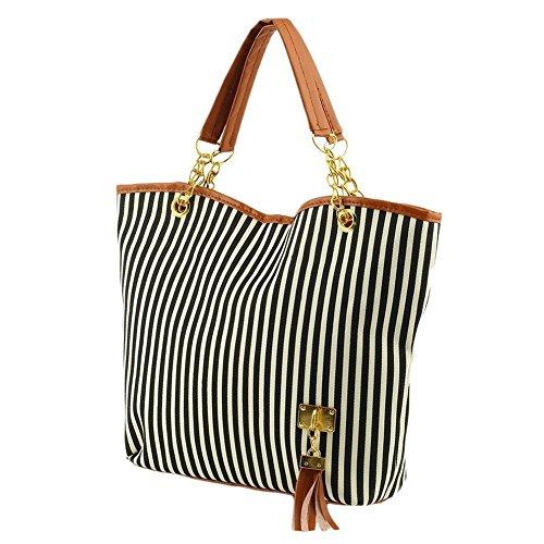 Einzel-schulter Frauen-handtaschen (wlgreatsp Frauen Streifen Zipper Hobo Tote Schulter Geldbeutel Schul Mode Handtaschen)