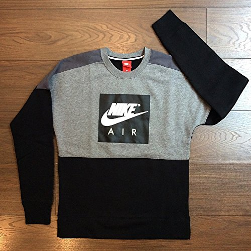 Nike Herren Sportswear Crew Air Fleece Sweatshirt, Carbon Heather/Dark, M