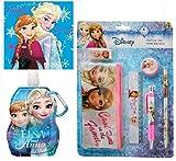 Frozen Disney Die Eiskönigin 3'er Set Trinkflasche+Schreibset+ Waschtuch Geschenk-Set INKLUSIVE schicker Geschenktüte