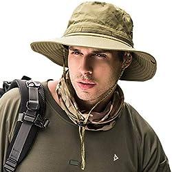 Dsaren Chapeau Boonie Sun Hat Chapeau de Soleil Aux Bords Arrondis pour l'extérieur, la Pêche, Le Camping, Le Cyclisme, la Chasse, Le Golf, la Randonnée (Armée Verte)